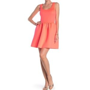 love...ady Coral Scuba Fit and Flare Dress